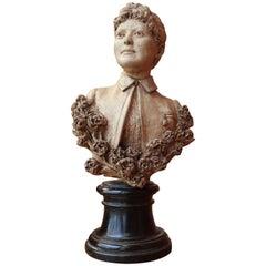 19th Century Italian Female Terracotta Bust on Ebonized Base Signed and Dated