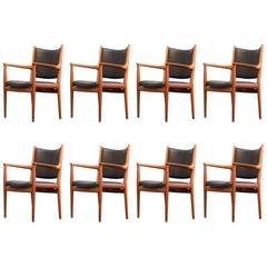 Hans J. Wegner JH 513 Chair by Johannes Hansen Denmark Mahogany Leather