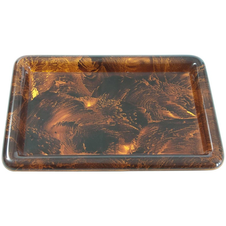 Midcentury Faux Tortoiseshell Tray by Christian Dior with Original Label For Sale