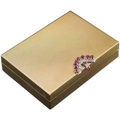 20th Century Bulgari Art Deco 18-Karat Gold, Diamonds & Rubies Vanity Case