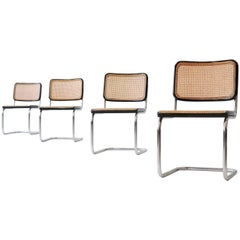 Set of Four S 32 Cantilever Chair by Marcel Breuer Mart Stam for Thonet, 1920s