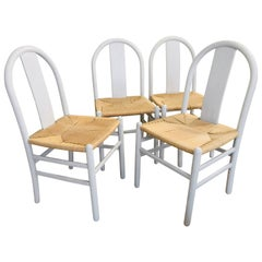 All Four Cane Tuscan Wooden Rustic White Chairs, Italy