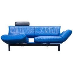 De Sede DS 140 Designer Sofa Leather Blue Black Function Couch Modern