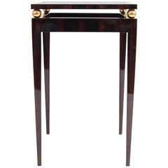Square French Art Deco Macassar Ebony Side Table, circa 1940s