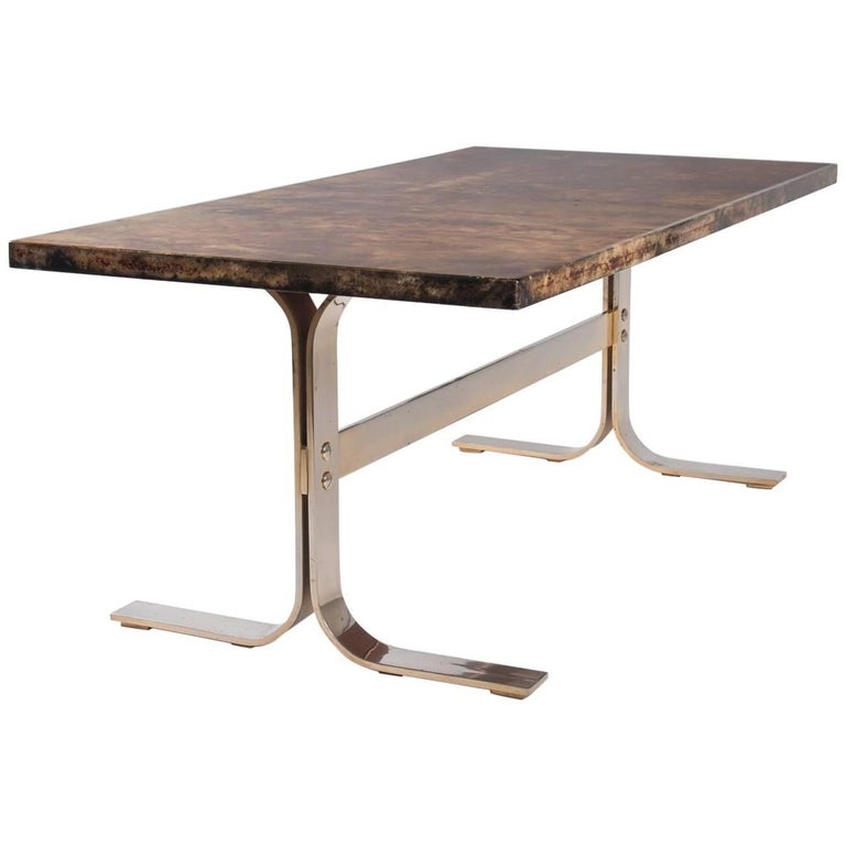 Aldo Tura midcentury Parchment Covered Low Table, Italy, circa 1960-1970 1