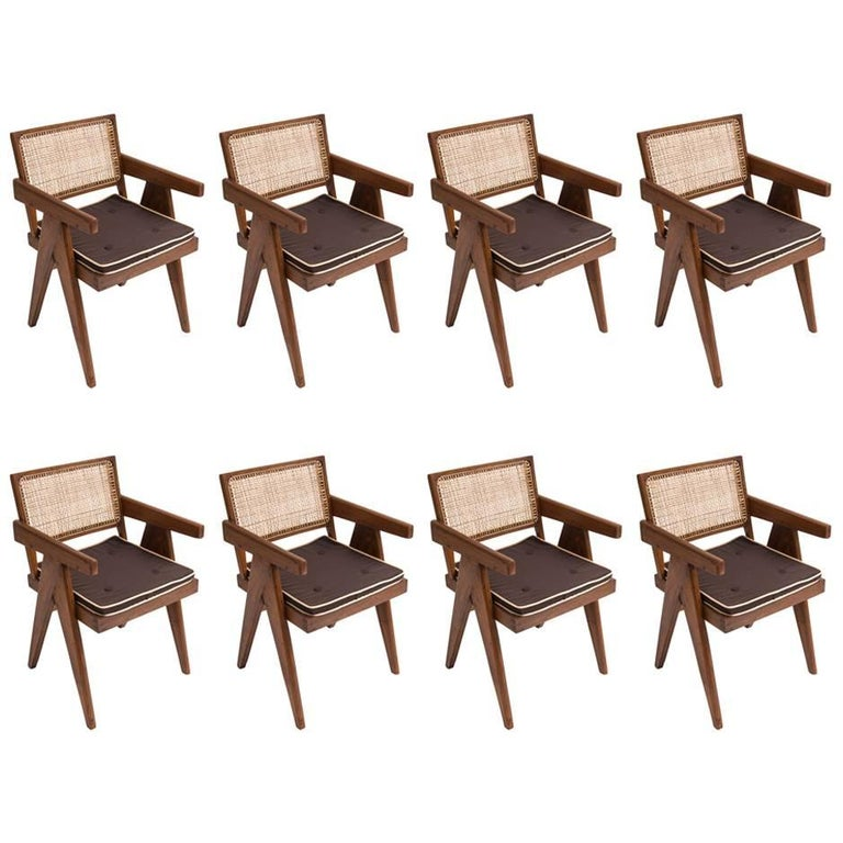 Pierre Jeanneret Set of Eight Arm/Dining Chairs