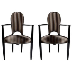 Art Deco Armchairs in Black Lacquer
