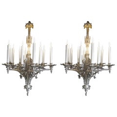 Pair of 12 Lights Neo-Gothic Chandeliers