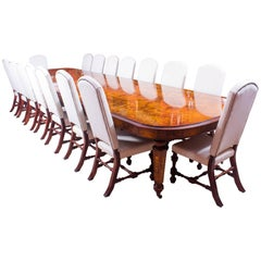 Huge Bespoke Handmade Marquetry Burr Walnut Extending Dining Table and Chairs