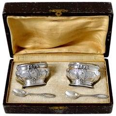 Antique French Sterling Silver 18-karat Gold Salt Cellars Pair, Spoons, Box