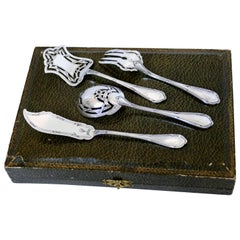 Coignet French All Sterling Silver Dessert Hors D'oeuvre Set 4 Pc, Original Box