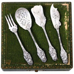 Antique French All Sterling Silver Dessert Hors D'oeuvre Set 4 Pc with Box, Iris