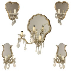 Vintage Murano Crystal Mirrored Sconces, Divisible