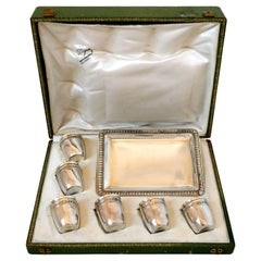 Rare French Sterling Silver 18-Karat Gold Liquor Cups and Tray, Box, Empire