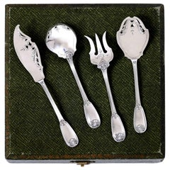 Ricard French All Sterling Silver Dessert Hors D'oeuvre Set 4 Pc, Box, Regency