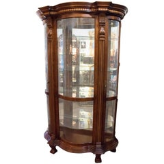 Don Rousseau Attributed Mahogany Serpentine Mirrored Lighted French Cabinet