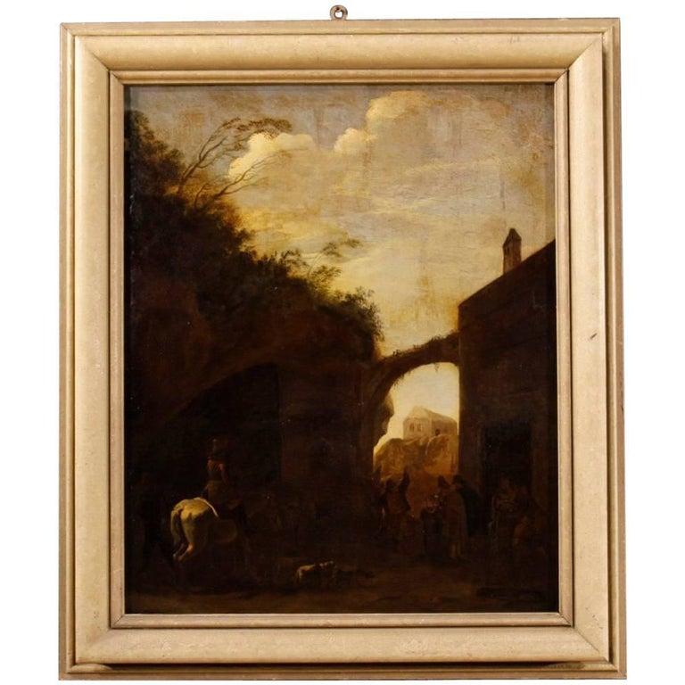 Antique Landscape Dutch Painting Oil on Canvas, 18th Century
