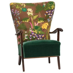 Danish Produced Lounge Chair, 1940s, Upholstered with Floral Textile