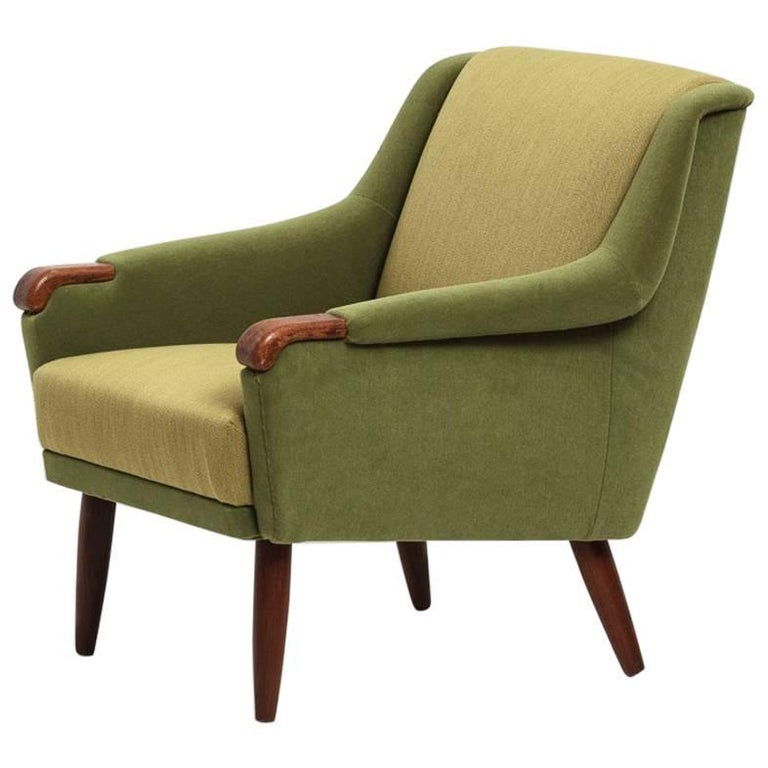 Danish Produced Wingback Chair, 1950s, Velvet and Wool Upholstery by Kvadrat