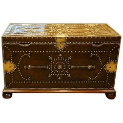 Brass and Leather Bound Chest in the Regency Manner