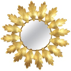 Mid-Century Modern Gilt Metal Flower Shaped Sunburst Mirror, Spain, 1960s