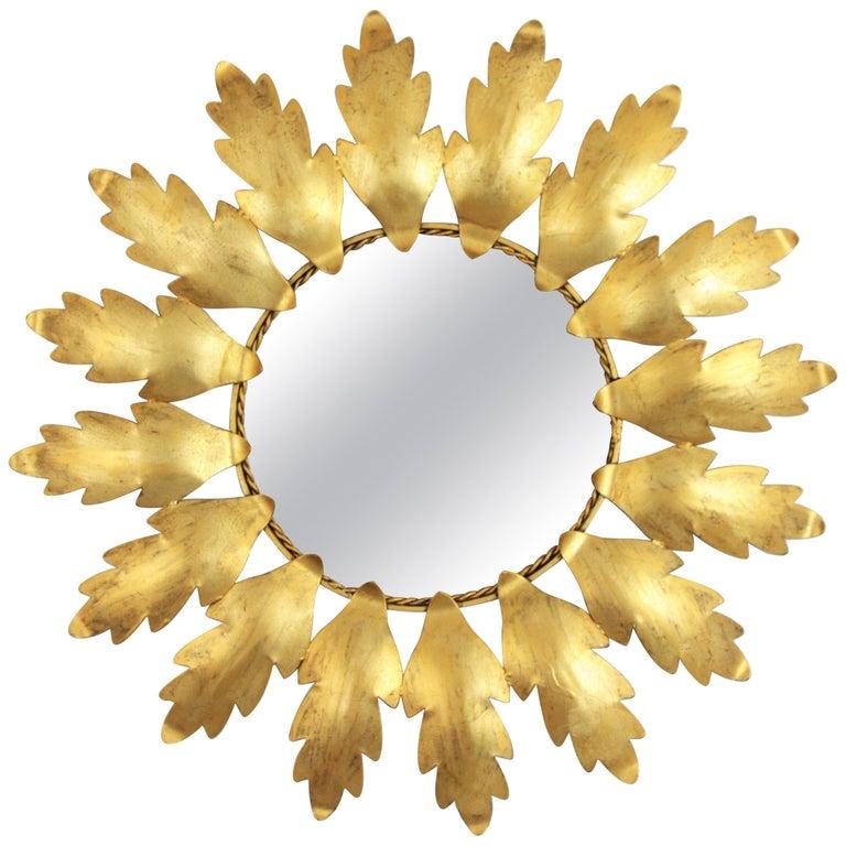 Mid-Century Modern Gilt Metal Flower Shaped Sunburst Mirror, Spain, 1960s For Sale