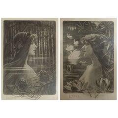 """Tony Martin, """"L'Eau"""", """"La Forêt"""", Two Art Nouveau Black and White Lithographs"""