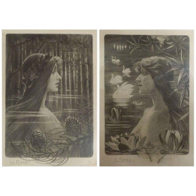 """Tony Martin, """"L'Eau"""", """"La Forêt"""", Two Art Nouveau Black and White Lithographs 1"""