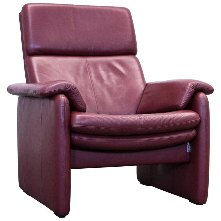 erpo designer armchair leather bordeaux red two seat relax function couch at 1stdibs. Black Bedroom Furniture Sets. Home Design Ideas