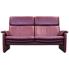 Erpo Designer Sofa Leather Bordeaux Red Two-Seat Relax Function Couch Modern