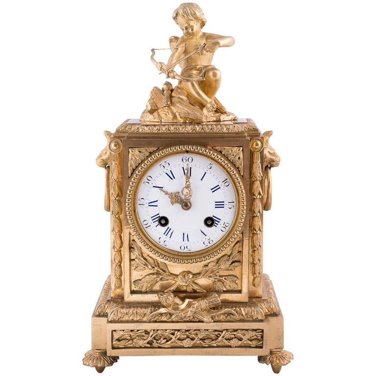 Fine Napoleon III Bronze Dore Clock For Sale