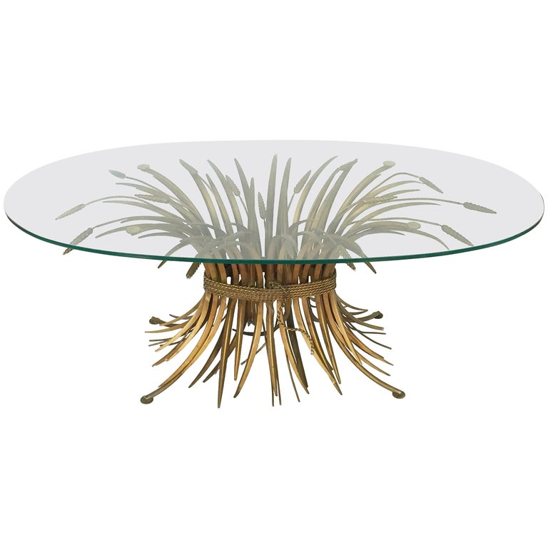 Low Metal And Glass Coffee Table: Italian Black And Gilt Wheat Sheaf Table With Glass Top