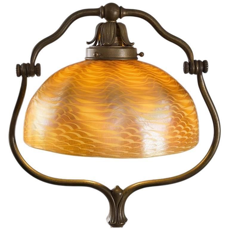 Tiffany Studios New York Favrile Glass And Bronze Harp Floor Lamp