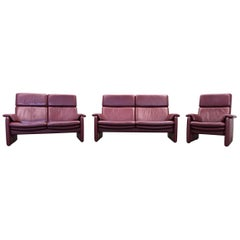 Erpo Designer Sofa Set Leather Bordeaux Red Two-Seat Relax Function Couch