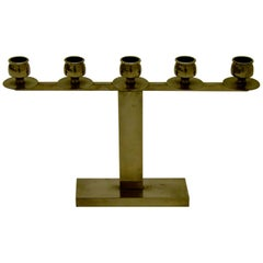 Tinned Art Deco Candelabra for Five Candles