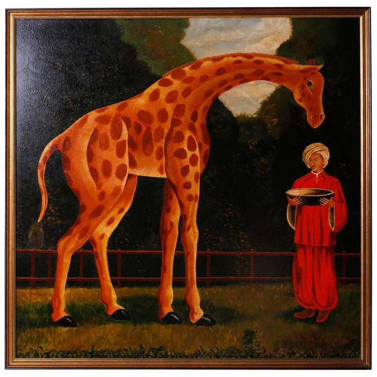 Oil Painting on Canvas of a Giraffe by Reginald Baxter For Sale