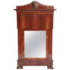 Italian Neoclassical Walnut Mirror with Lion Mask
