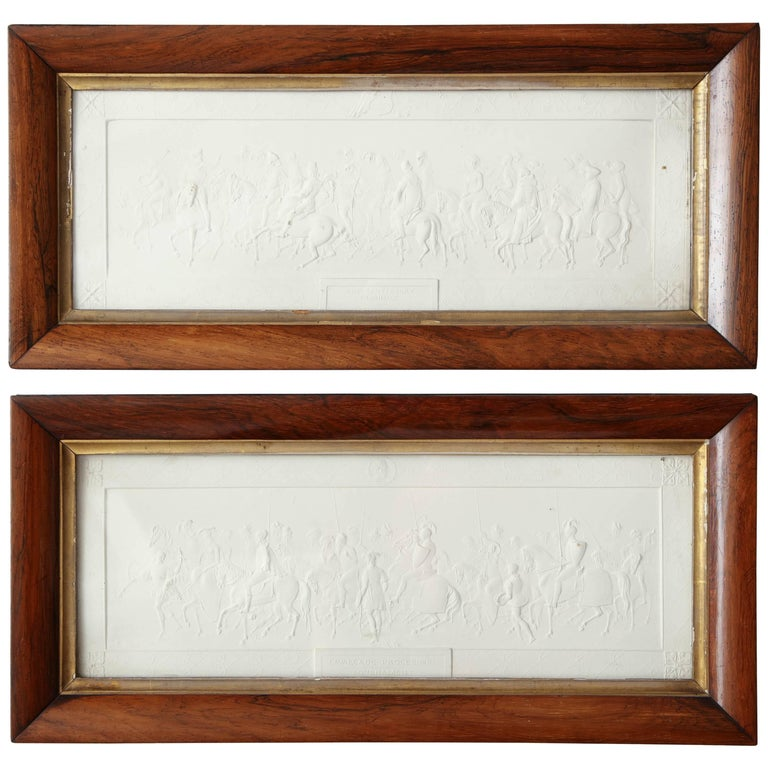 Two 19th Century Plaster Plaques in Hardwood Frames For Sale
