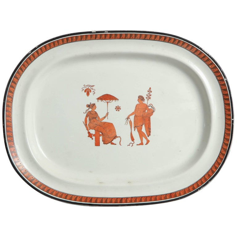 19th Century English Creamware Platter in the Etruscan Taste
