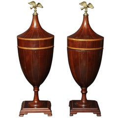 Pair of Classical Mahogany Urns
