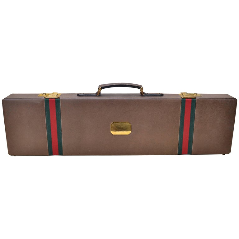 Original Gucci Shotgun Case in Leather and Brass For Sale
