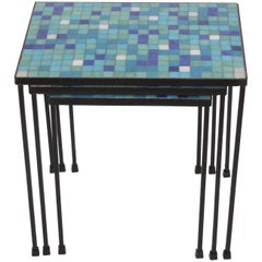 1950s Set of Three Black Wrought Iron and Blue and Green Tile Stacking Tables