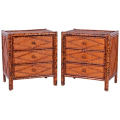 Pair of British Colonial Style Bamboo Nightstands or Tables