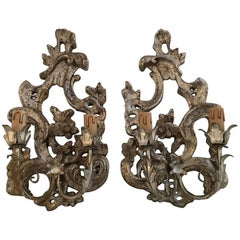 Italian Pair of Rococo Style Silvered Wood Sconces, circa 1900