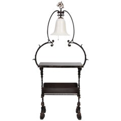 Oscar Bach Illuminated Bronze & Iron Book Display Stand with Stueben Bell Shade