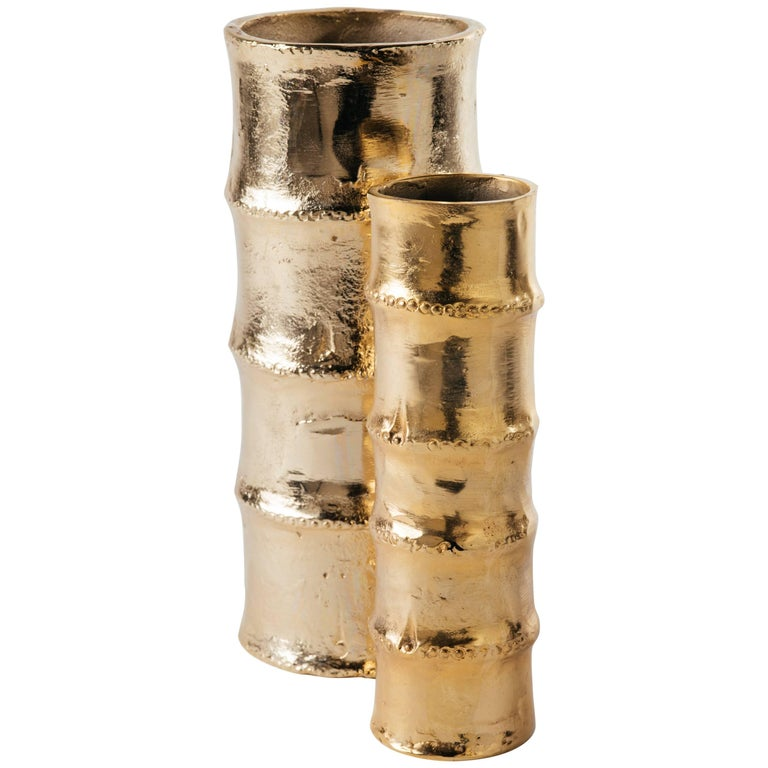 Pair of Handmade Bamboo Vases in 24-Karat Gold-Plated Metal For Sale