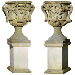Pair of Large Carved Bath Stone Finial Urns 'Solid'