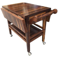 Rare Wood Drop-Leaf Service Cart Attributed to Don Shoemaker