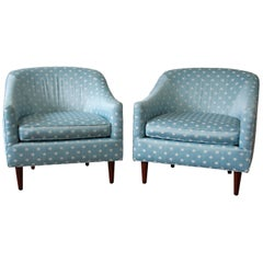Milo Baughman Style Mid-Century Modern Barrel Back Club Chairs, Pair
