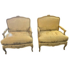 Pair of Louis XV Style Lounge Chairs by Maison Jansen